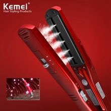 Cheap price Kemei Electric Hair Straightener Ceramic Vapor Steam Flat Iron Vapor Plate Wet&Dry Led Ferro Fast Heating Iron Styling Tool