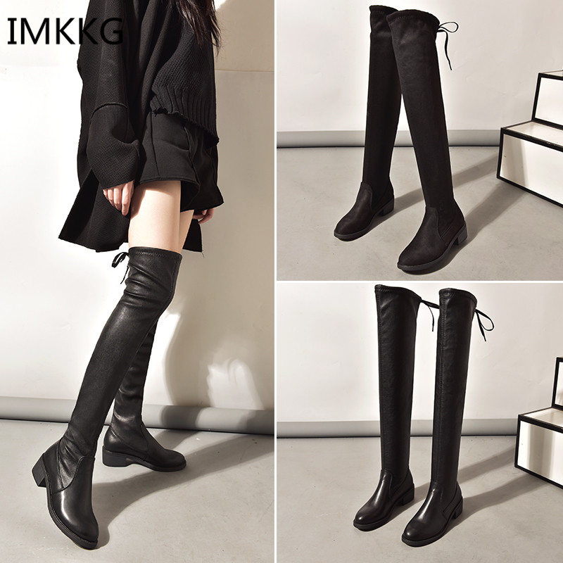 2ad0fd28f0a Women shoes New Over The Knee Thigh High Black Boots Women Motorcycle Long  Boots Low Heel suede Leather Shoes V383