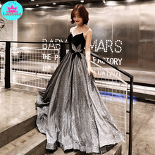 2019 new gray black contrast color starry banquet ladies sexy mesh transparent heavy work tube top   dress contrast mesh dress