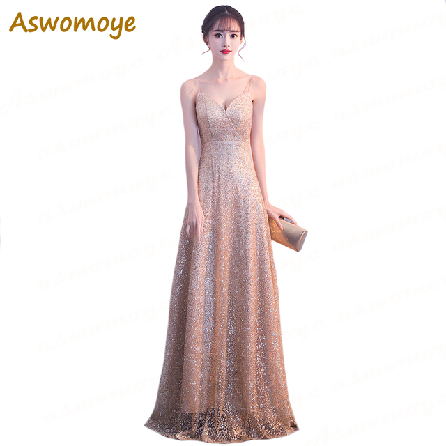 Golden Long Evening Dress 2018 New Fashion Sexy Sweetheart A-Line Party Formal  Dress Backless Sequined Prom Dress robe de soiree b5c5c7727d9d