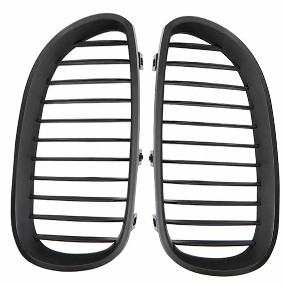 1 Pasang Mobil Grill Racing Grille Matte Hitam untuk BMW Seri 5 E60 E61 M5 2004-2009 520D 525 mobil Styling Grill Depan Ginjal Grille