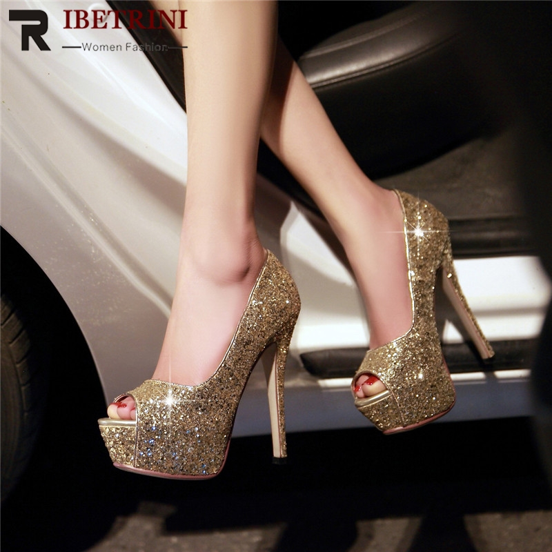 RIBETRINI New Big Size 32 43 Peep Toe Bling Ladies High Heels Platform Shoes Woman Casual Party Ol Sexy Spring Evening Pumps