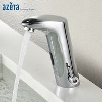 Azeta Bathroom Chrome Automatic Hand Touch Cold and Hot Water Sensor Faucet With Battery Power Basin Mixer Tap MK 208B