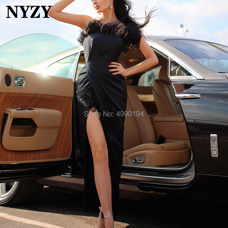 NYZY C147 Ankle Length Sexy High Slit Formal   Dress   Party Evening Robe Soiree Dubai Black Feather   Cocktail     Dresses   2019