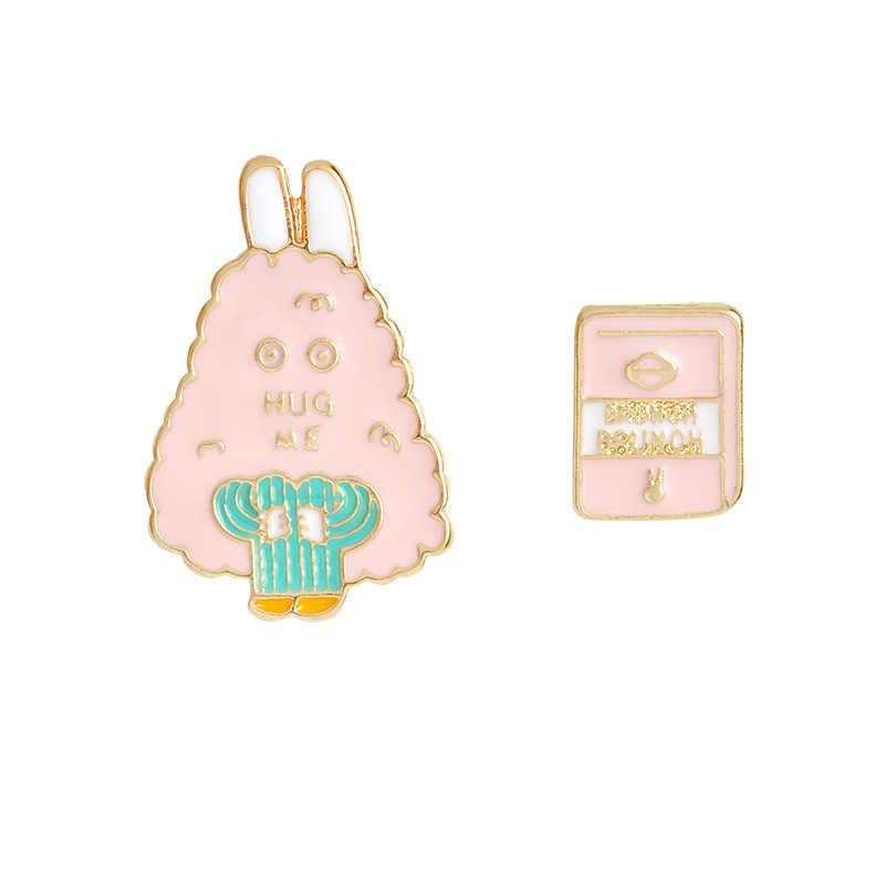 6 قطعة/الوحدة مجوهرات جديدة كارتون لطيف الأرنب ليلة الرياح الياباني الأصلي بسيطة القط بروش بروش