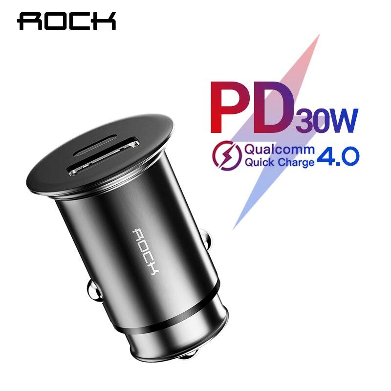ROCK PD3.0 QC 4,0 USB Dual del cargador del coche de carga rápida Metal Mini SCP VOOC 4 en 1 coche-cargador 2 puerto 30 W para iPhone Samsung Xiaomi