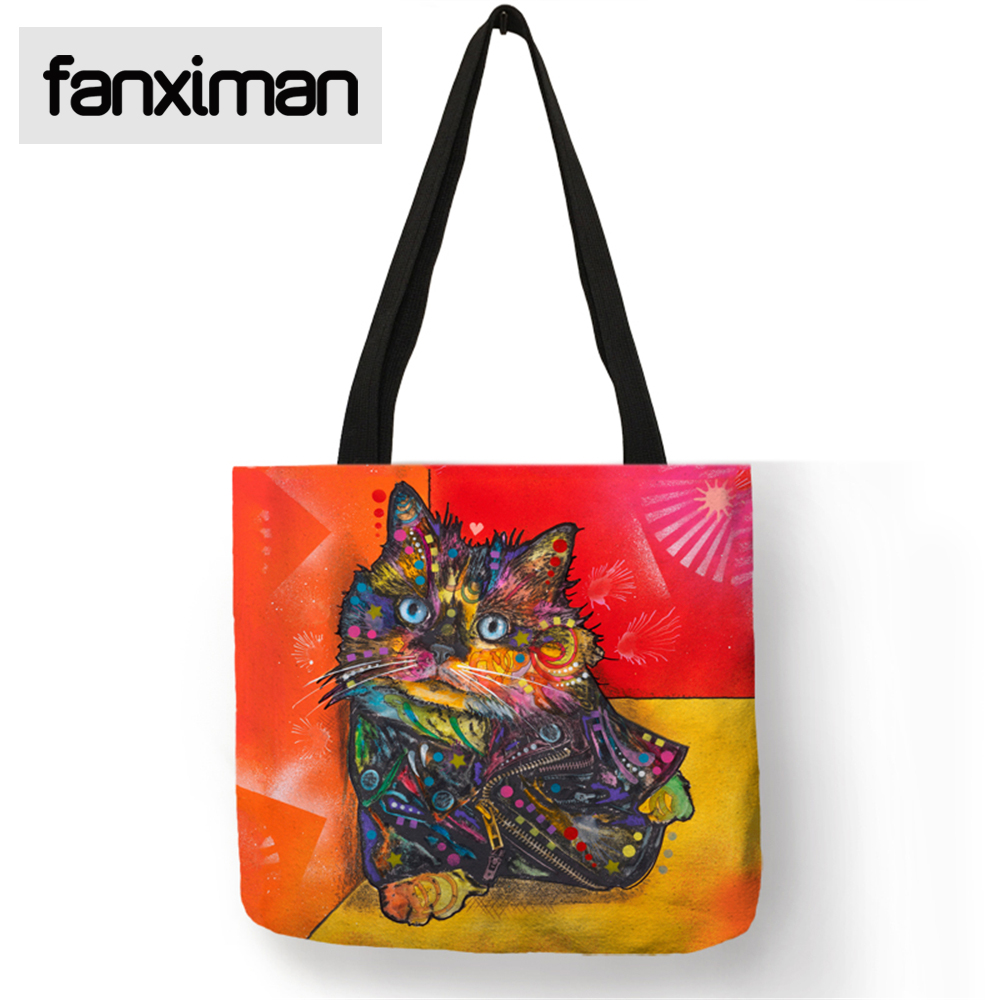 Fashion Colorful Cat Oil Painting Shoulderbag Eco Linen Tote Casual Reusable Foldable Bags Shopping Travel Storage Bag Clothes