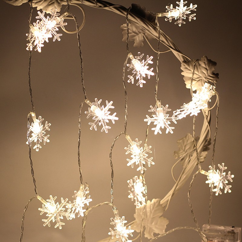 20 Led Snow Christmas Tree Holiday Ornament Lights Indoor