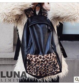 2012 female leopard print rivet backpack vintage preppy style student school bag fashion messenger bag