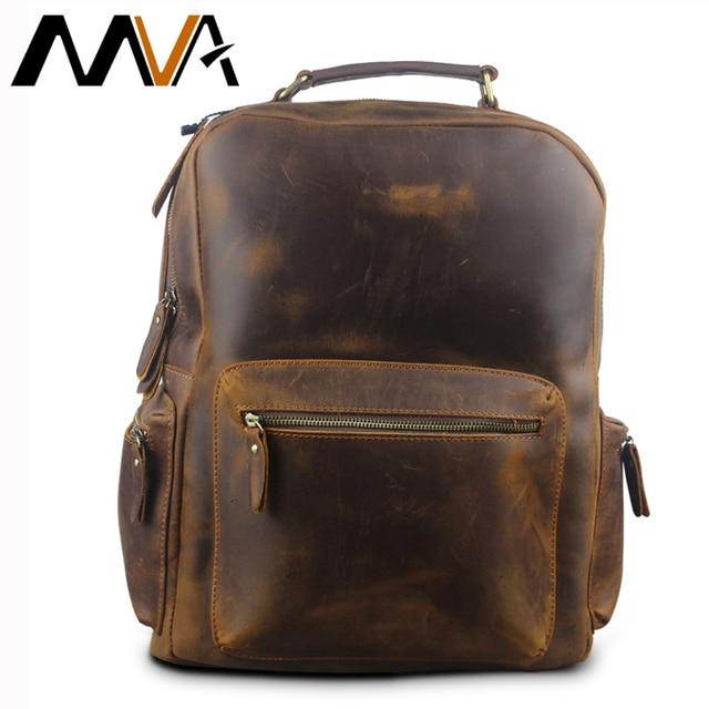 9e259f5074 MVA Crazy Horse Leather Backpack Men Backpacks Casual Daypacks Leather  Laptop Bag 14 inch Men s Travel Shoulder Bags Male Bag