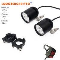 LDDCZENGHUITEC Universal Kits Motorcycle Headlights LED 40W 8000LM For Motorcycle ATV Car SUV Boat Auxiliary Aluminum