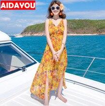 Maxi dresses Floral print halter chiffon long dress Women  vestidos Sexy split beach summer dress AIDAYOU ouc804 цена 2017