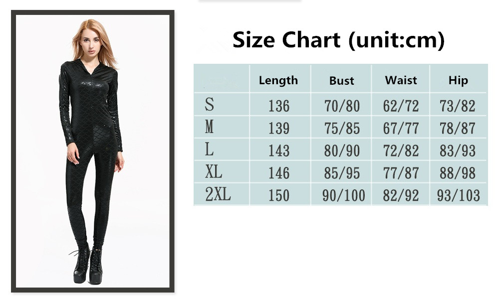 592ed48d5bb ... Rompers Long Sleeve Hooded Jumpsuit Plus Size Fish Scale One Piece  Jumpsuit Front Zipper. size chart. size