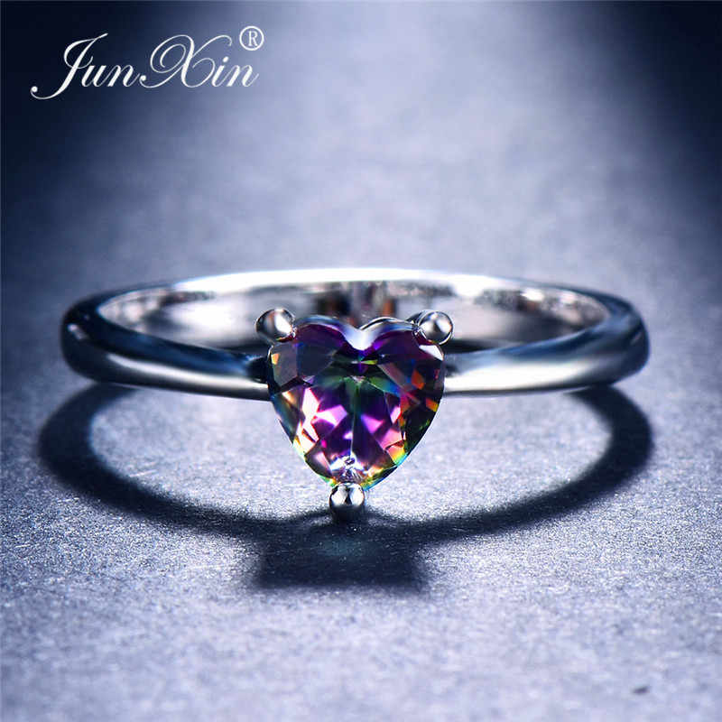 JUNXIN Mystical Fire Zircon Heart Rings For Women 925 Sterling Silver Filled White Blue Fire Opal Ring Female Promise Thin Ring