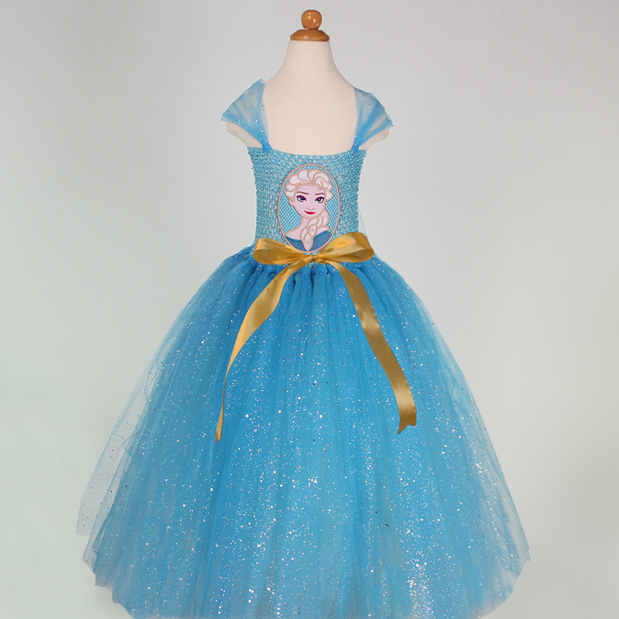 Summer Kids Baby Girls Tutu Dress For Party Elsa Anna Princess Dresses Children Clothing Snow Queen Christmas Costume 2-12 years