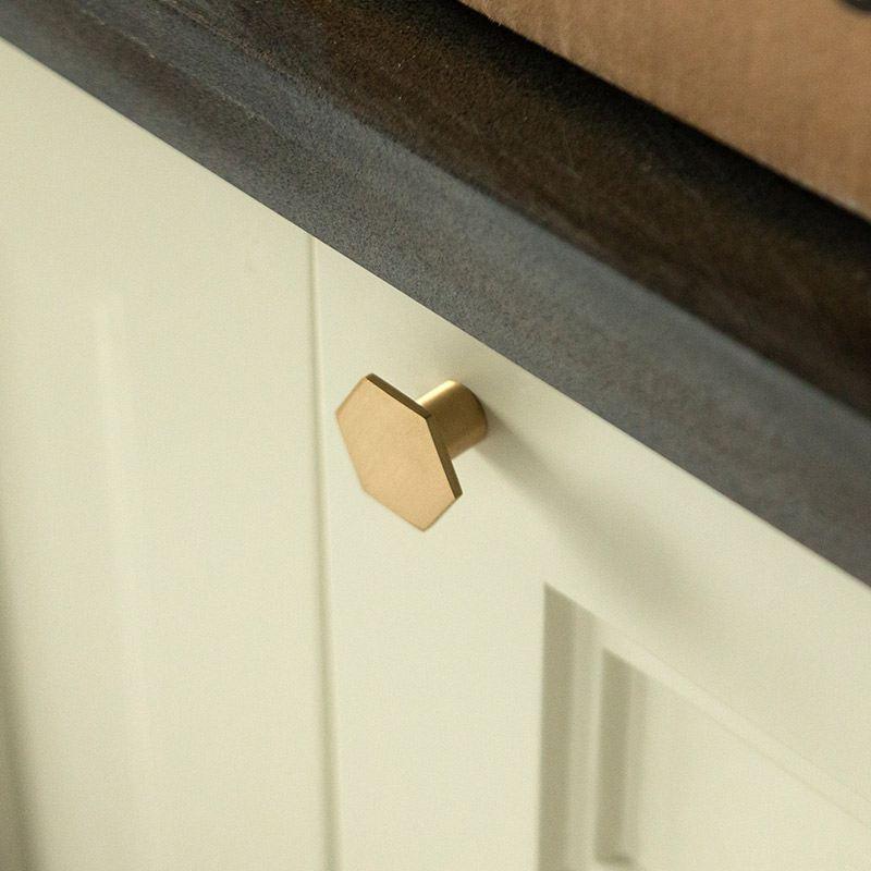Шестигранные латунные ручки для кухонного шкафа современные ящики комод мебельные ручки шкаф Pulls-10Pack