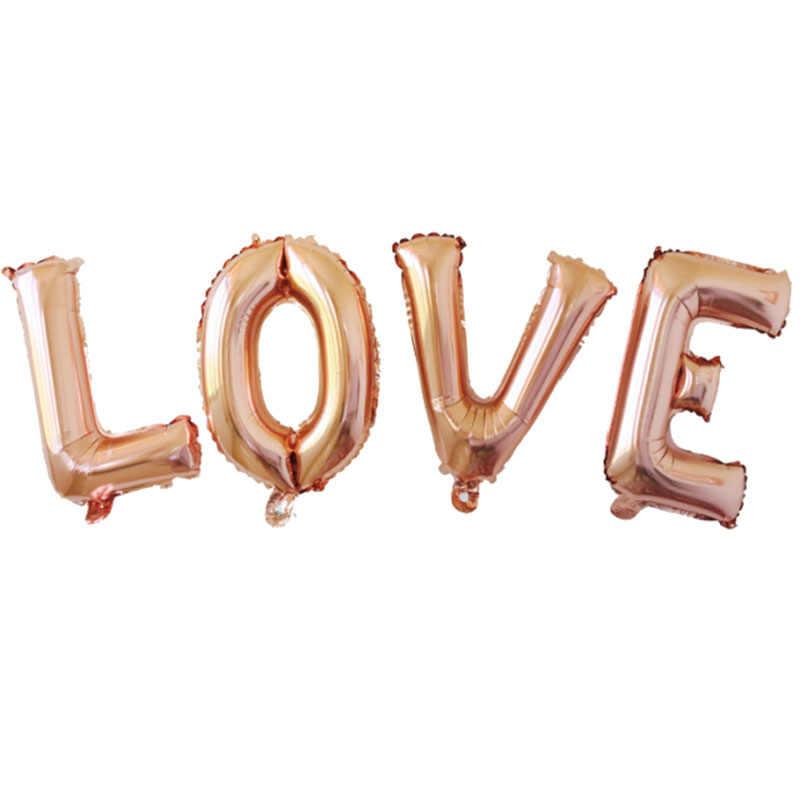 32 pollici 16 pollici Oro Rosa Lettera Palloncini Festa di Compleanno Decorazioni di Nozze di Nozze Alfabeto Palloncino Festa di Anniversario di Aria Globos