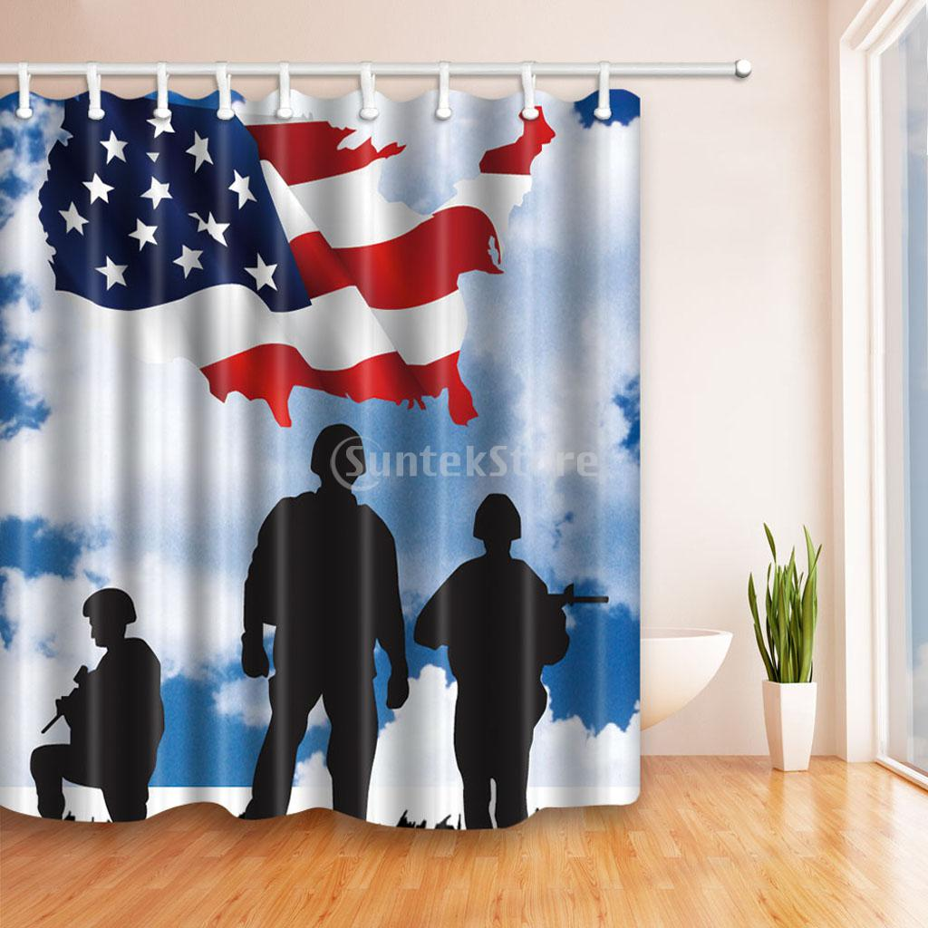 American USA Flag Patriotism Soldier Painted Polyester Bath Shower Curtain