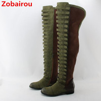 Zobairou Zapatos Mujer Black Stretch Over the Knee Long Boots Plush Motorcycle Bottes Punk Suede Cowboy Boots Shoes Woman 2018