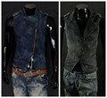 New Arrival Men's Denim Vest Brand Jeans Vest Men Cowboy Vest Denim Sleeveless Jacket Plus Size Plus Size L-2XL