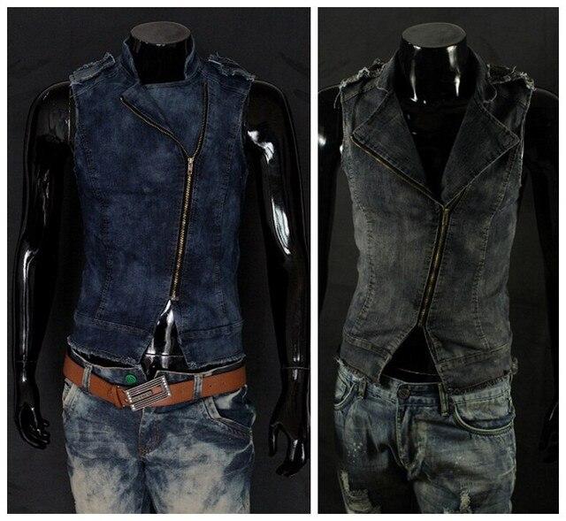 New Arrival Men's Denim Vest Brand Jeans Vest Men Cowboy Vest Denim Sleeveless Jacket Plus Size Plus Size L-2XL