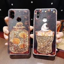 For Xiaomi 5X 6X  8 9 SE F1 Fashion Bear Quicksand Dynamic Liquid Glitter Redmi 5 7 Plus Note5 Note7 Phone Case Cover Coque