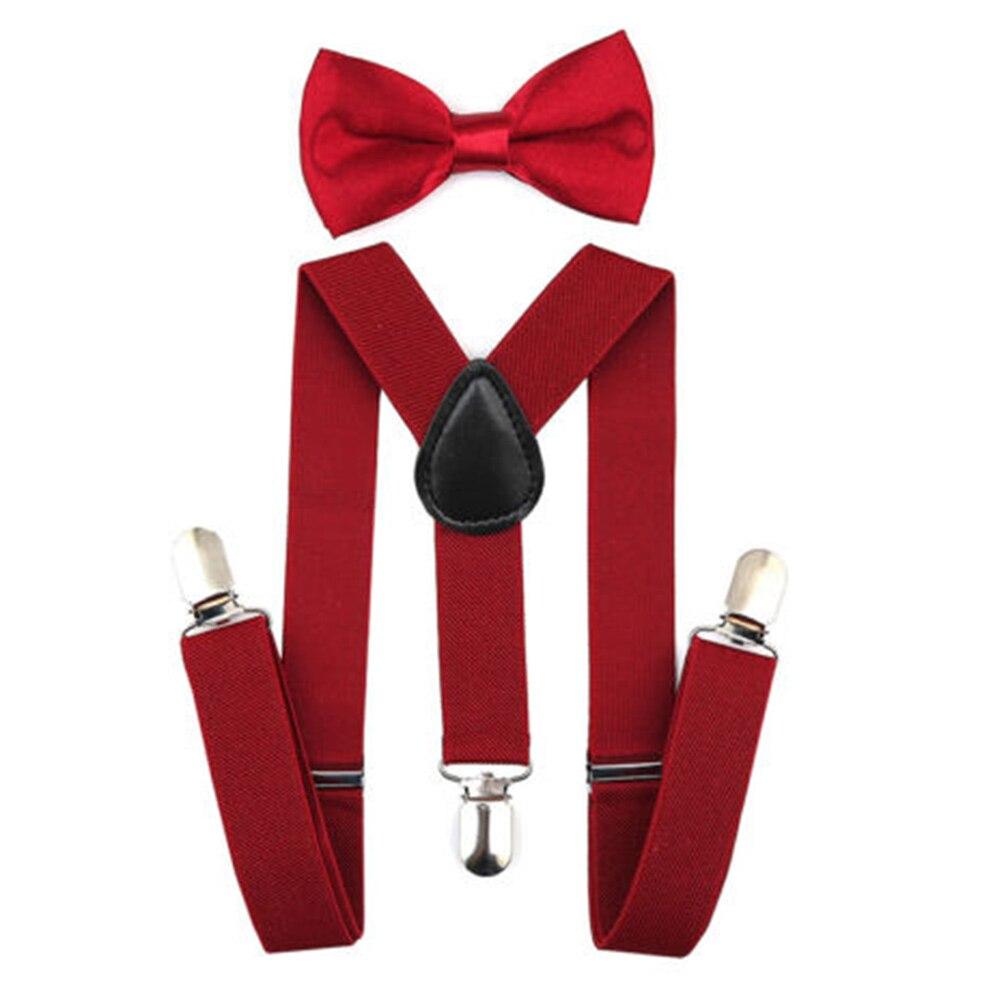 Регулируемая мода мальчиков хлопчатобумажный галстук вечерние галстуки подарок высокое качество для маленьких мальчиков малышей бабочка галстук-бабочка+ на подтяжках комплект одноцветное Цвет - Цвет: Wine red