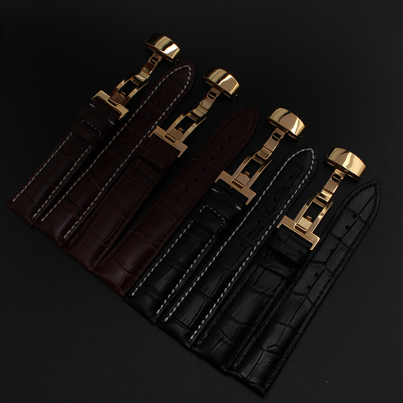 18mm 19mm 20mm 21mm 22mm  New Black Genuine Leather Watchband Watch Bands Straps Bracelets With yellow gold buckle deployment new mens genuine leather watch strap bands bracelets black alligator leather 18mm 19mm 20mm 21mm 22mm 24mm without buckle