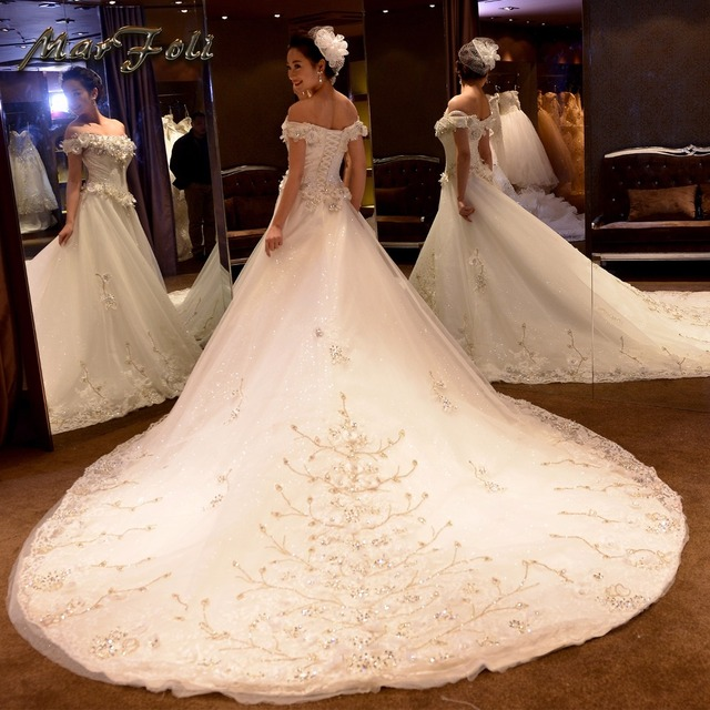 Marfoli Luxury High End Wedding Dresses 2018 With Beads And Lace A Line Custom