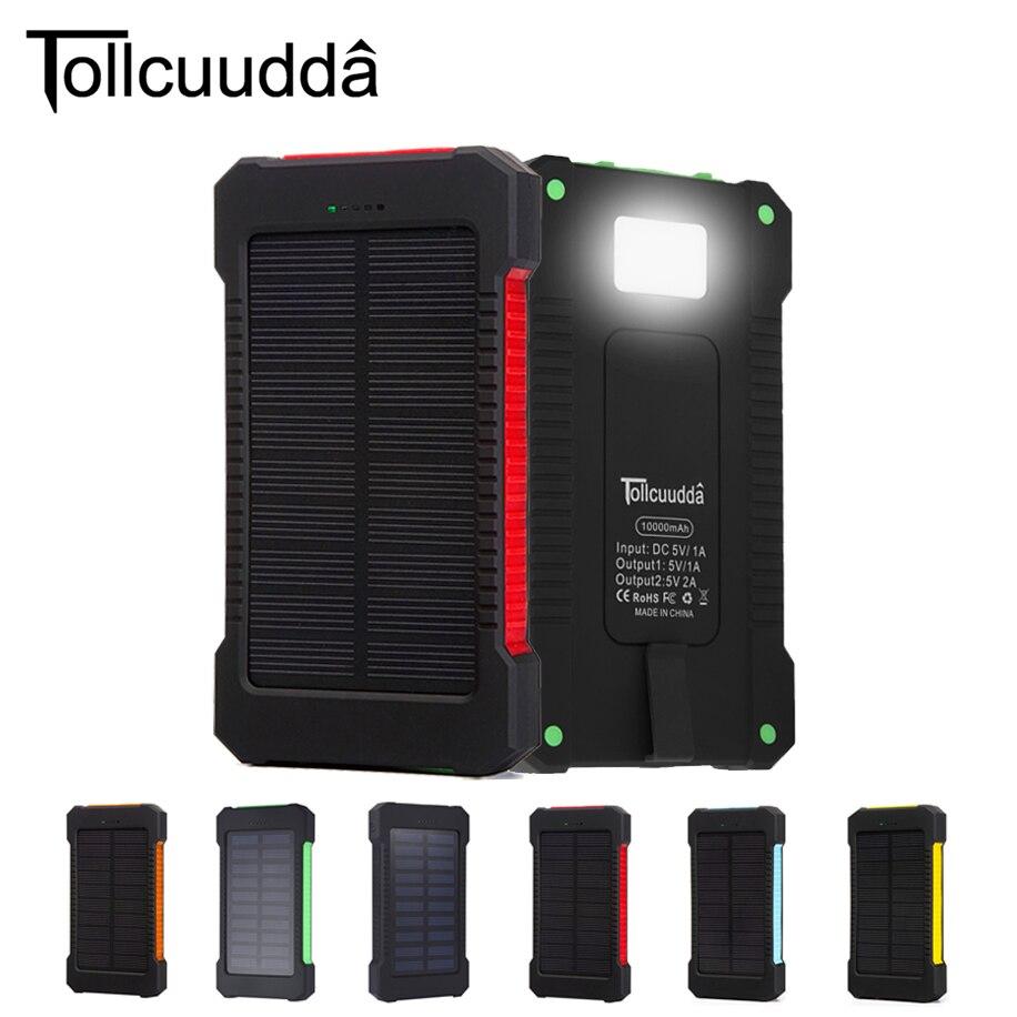 Цена за Tollcuudda Солнечный Мощность Bank 10000 мАч сотовый телефон внешний Мощность банк Зарядное устройство для iPhone Батарея Портативный Bateria наружный
