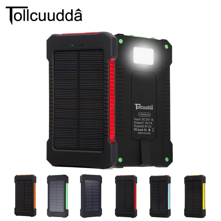 Tollcuudda <font><b>Solar</b></font> Power Bank 10000mah Cell Phone External Powerbank Charger For Iphone Battery Portable Bateria Externa
