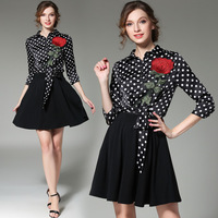 Luxury Spring A line Rose Flower Polka Dot Printing Embroidery Dress Knee length Natural Turn down Collar Autumn Long Dresses