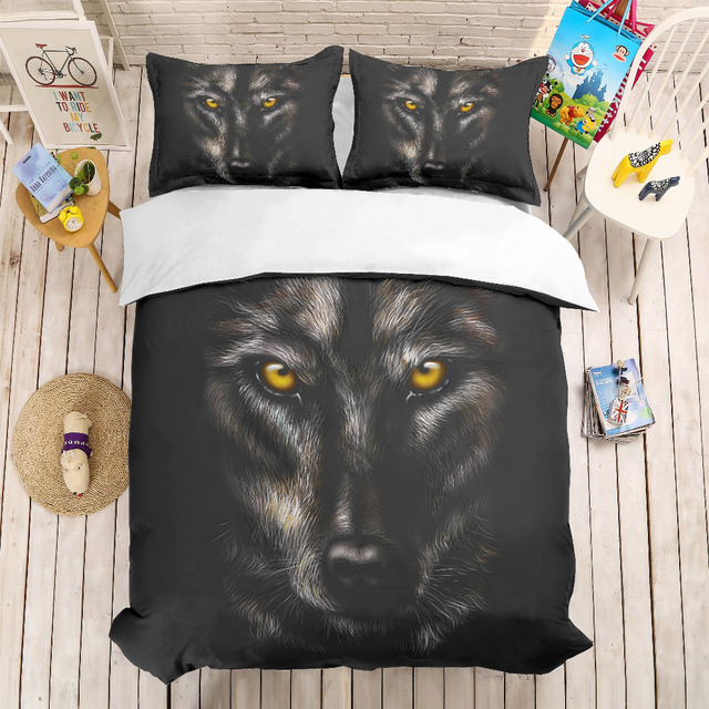 MUSOLEI 3D print Duvet Cover Set Wolf Yellow-eyed wolf head on black background bedding set Bed Sheet Twin queen king