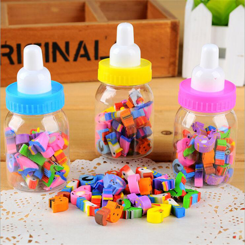 1 Bottle (20-22 Capsules) Creative Cute Bottle Digital Shape Eraser Mini Kawaii Pencil Eraser Child Student Stationery Prize