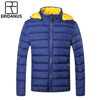 Winter Jackets Mens 2016 New Stylish Slim Fit Quilted Long Sleeve Cotton Padded Casual Solid Thick