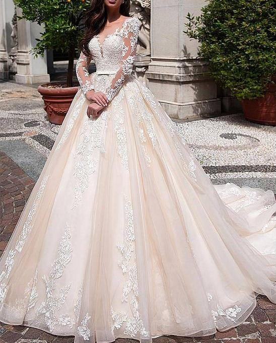 Simple Wedding Dress For Godmother: Vestido De Noiva Princesa Long Sleeves Wedding Dress Lace