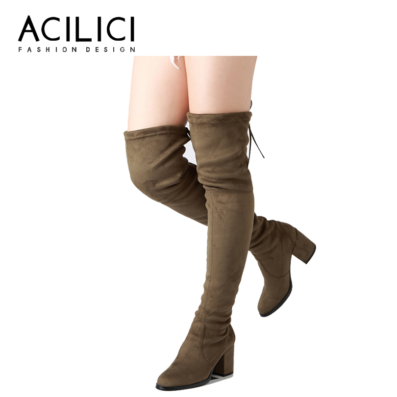 Solid Color PU Leather Square Heel Over the Knee Women Boots Sexy High Heel Warm Stretch Elastic Band Women Winter Long Boots 5yards 15mm 5 8 multirole fold over elastic spandex satin band al color u pick
