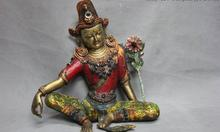 Tibet Pure Copper Bronze Gold Gilt Painted White TaRa Goddess Kwan-Yin Buddha