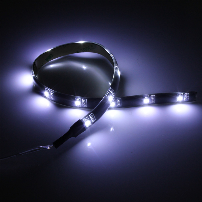 30CM 3528 SMD Waterproof Flexible 12 LED Strip Light Tape Car Auto Decor Lamp Battery Operated White Red Blue Green