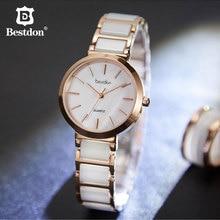 Bestdon lujo zafiro cristal señoras reloj de cerámica Correa caja de acero inoxidable cuarzo mujeres relojes de pulsera marca suiza