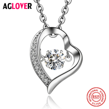 Move AAA Crystal Necklace 925 Sterling Silver Heart Charm Pendant Woman Jewelry