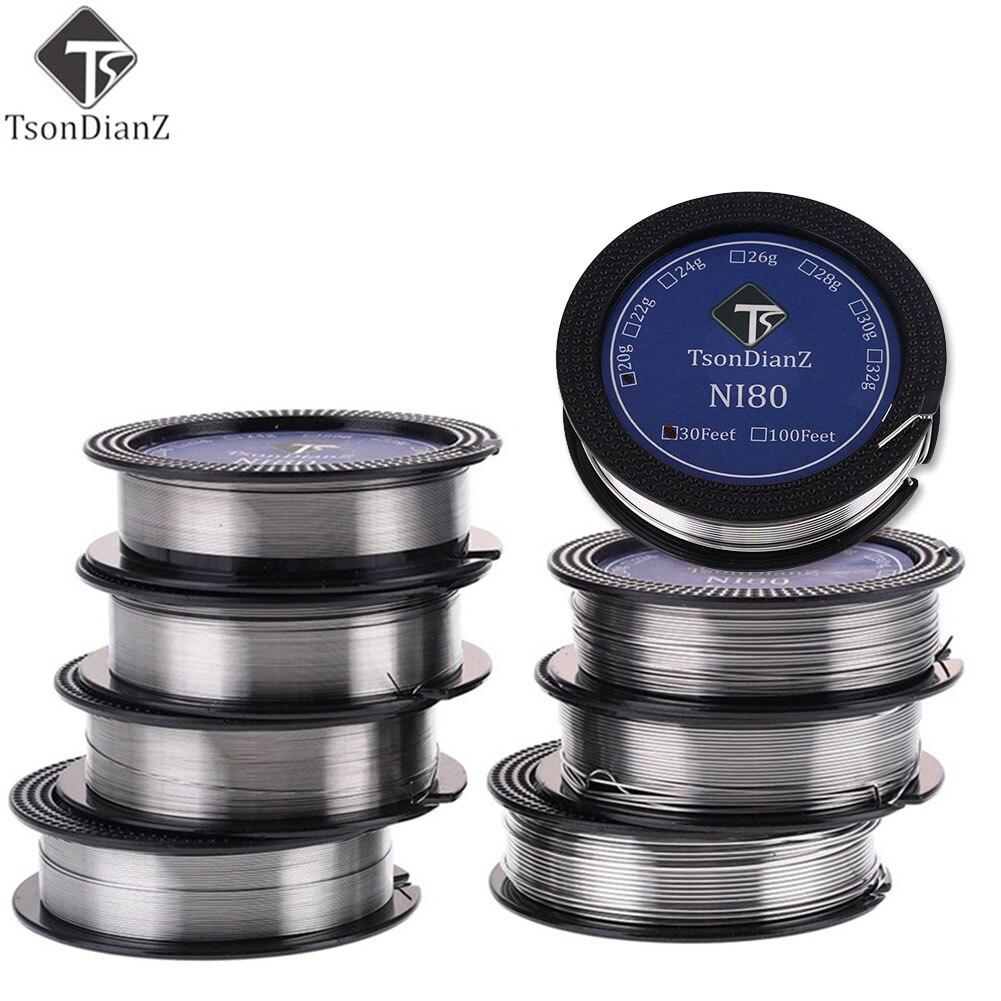 10 м/рулон Ni80 нихромовая электронная сигарета 20g-22ga-32ga Tsondianz нагревательный провод для RDA RTA распылитель для DIY предварительно собранный Койл нихромовая проволока