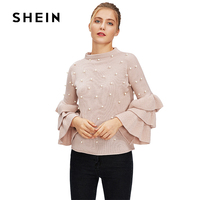 SHEIN Pink Pearl Beaded Layered Ruffle Sleeve Jumper 2017 New Fashion Autumn Winter Women S Sweater