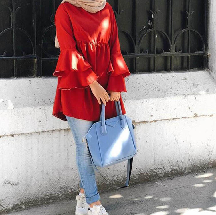 Fashion High Quality Girl's Blouse Lotus Leaf Sleeve Casual Top Long Sleeve Islamism Blouses Tops For Muslim Women 8005