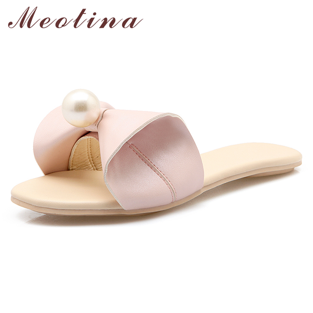 buy online 8db89 9cdbb US $13.71 48% OFF|Meotina Women Shoes Summer Slides Sweet Bow Flat Shoes  Pearl Open Toe Casual Slippers Ladies 2019 Sandals White Pink Size 33 40-in  ...