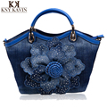 2016 New Women Denim Bags Sweet Blue Rose Pattern High Quality Handbags With Diamond Ladies Tote Bag Messenger Bags