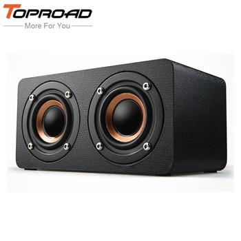 TOPROAD-Altavoz inalámbrico portátil HiFi con Bluetooth, barra de sonido de madera con...