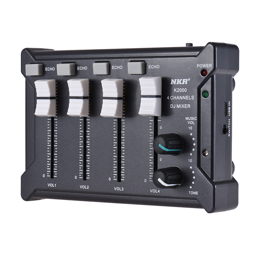 NKR Professional Mini Pocket 4 Channel mono Stereo Audio DJ Sound Mixer USB Powered BT Connecting