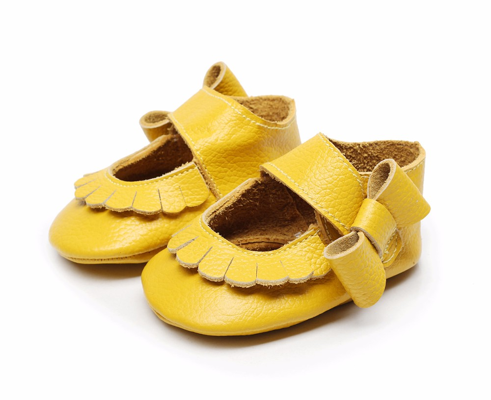 Hongteya Hot sale 17 colors New Genuine Leather Baby Infant Toddler Moccasins Non-slip side bow mary jane Soft Moccs Shoes