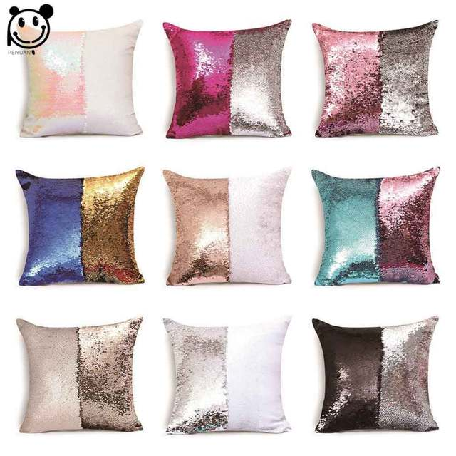magical color changing reversible pillow case pillow cover diy mermaid pink blue silver rose gold white - Color Changing Pillow